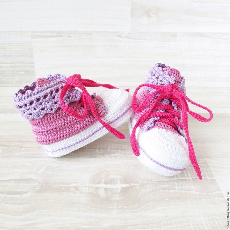 Купить пинетки вязаные кеды, пинетки для девочки, кеды пинетки, розовый - кеды вязаные