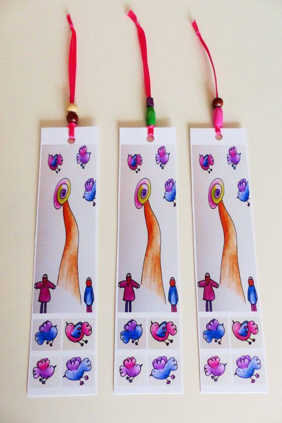 Segnalibri illustrati. Set tre segnalibri decorati di RossoViola, €6.00