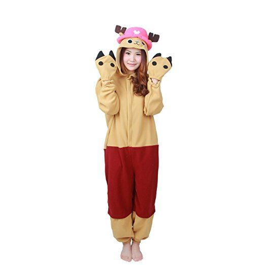 Damen Herren Unisex Adult Erwachsene Tony Chopper Animal Anime Tier Weihnachten Halloween Fasching Carnival Kigurumi Cosplay Overall Pajamas Pyjamas Schlafanzug Kostüme Jumpsuit kleid Kleidung