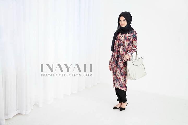 Heritage Long Tunic Dess + Black Maxi Modal Hijab The ideal classic midi dress with a balance of femininity and elegance. www.inayahcollection.com #inayah#modestfashion#hijabfashion#shirtdress