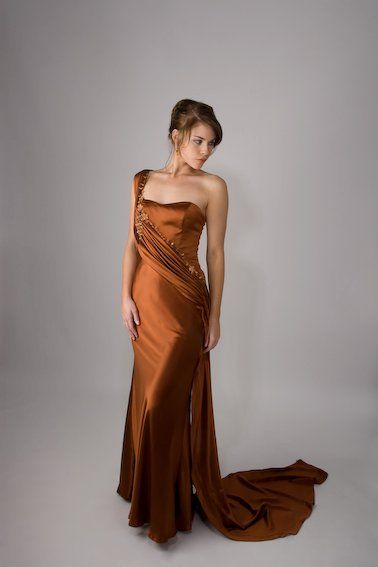 Beautiful bronze one shoulder evening gown http://www.arcarocouture.com.au/