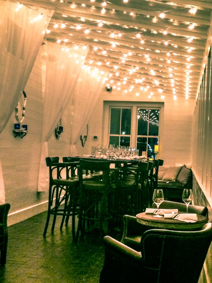 For private patio dining add string lights overhead consider led bulbs as a longer · restaurant lightingpatio