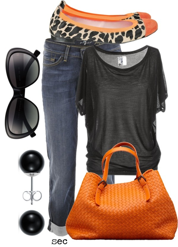 Cute:): Shoes, Fashion, Color Combos, Shirts, Jeans, Games Day Outfit, Fall Outfit, Flats, Orange Bags