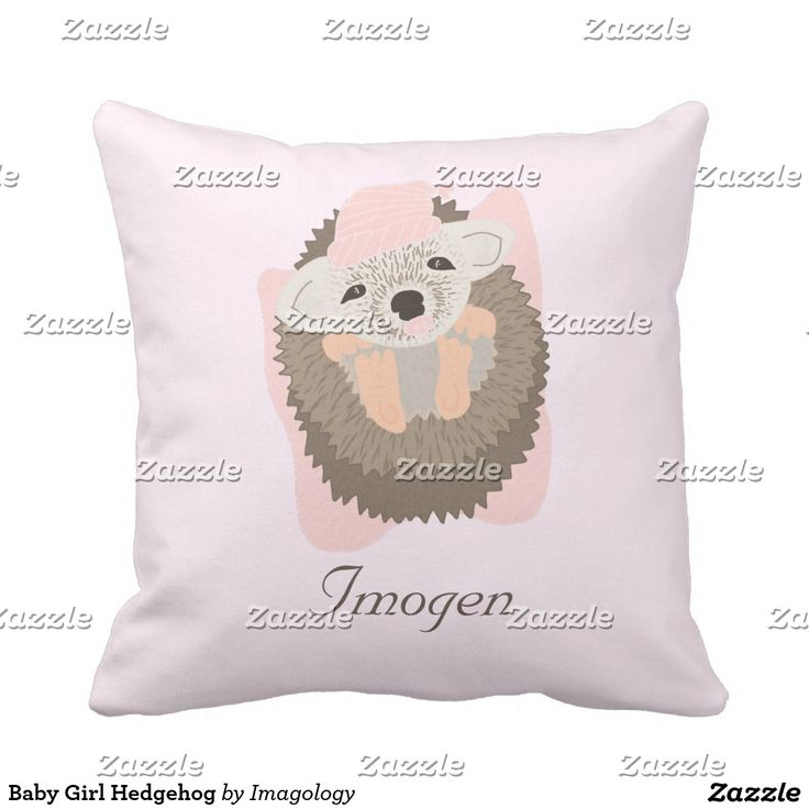 Baby Girl Hedgehog Throw Pillow