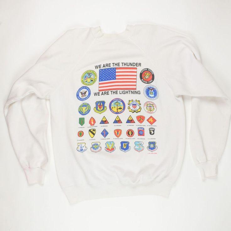 Vintage 1991 Desert Storm USA Army Marine Navy Air Force Patch Sweatshirt Large | Collectibles, Militaria, Desert Storm (1990-91) | eBay!