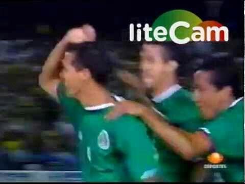 Mexico 2 Uruguay 1 in 2001 in Pereira. A delighted Jared Borgetti sends the fans into delirium in the Semi Final at Copa America.