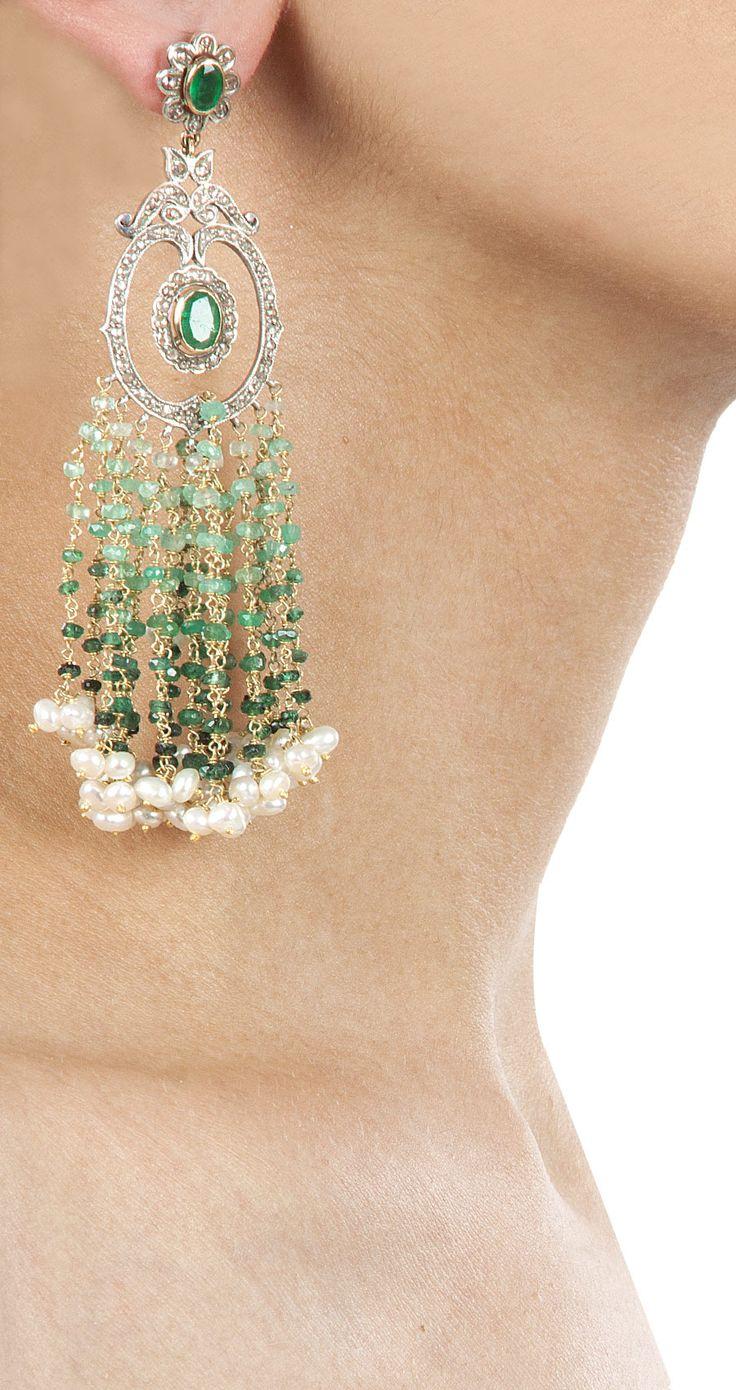 Waterfall earrings with emerald by Amrapali. http://www.perniaspopupshop.com/designers-1/amrapali