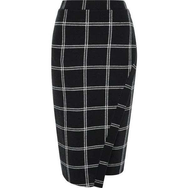 River Island Navy check wrap front pencil skirt ($72) ❤ liked on Polyvore featuring skirts, blue, midi skirts, women, print pencil skirt, bodycon midi skirts, button skirt, button midi skirt and blue pencil skirt