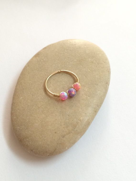 Opal cartilage hoop gold helix ring cartilage by FlowerRainbowNJ