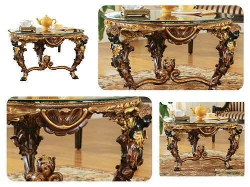 Unique-Coffee-Table-French-Replica-Style-Sofa-Glass-Top-Round-Furniture-Accent