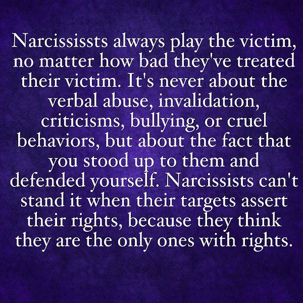 RT @scienceofno: Narcissists can't stand it when their targets assert their rights because they think they are the only ones with rights. #narcissism #narcissisticabuse #sociopath https://t.co/2O0NIMBX6N