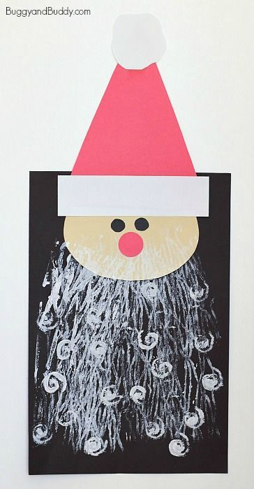 Santa Claus Art Project for Kids: Fun Christmas craft for children using fun printing art techniques with paint! ~ BuggyandBuddy.com
