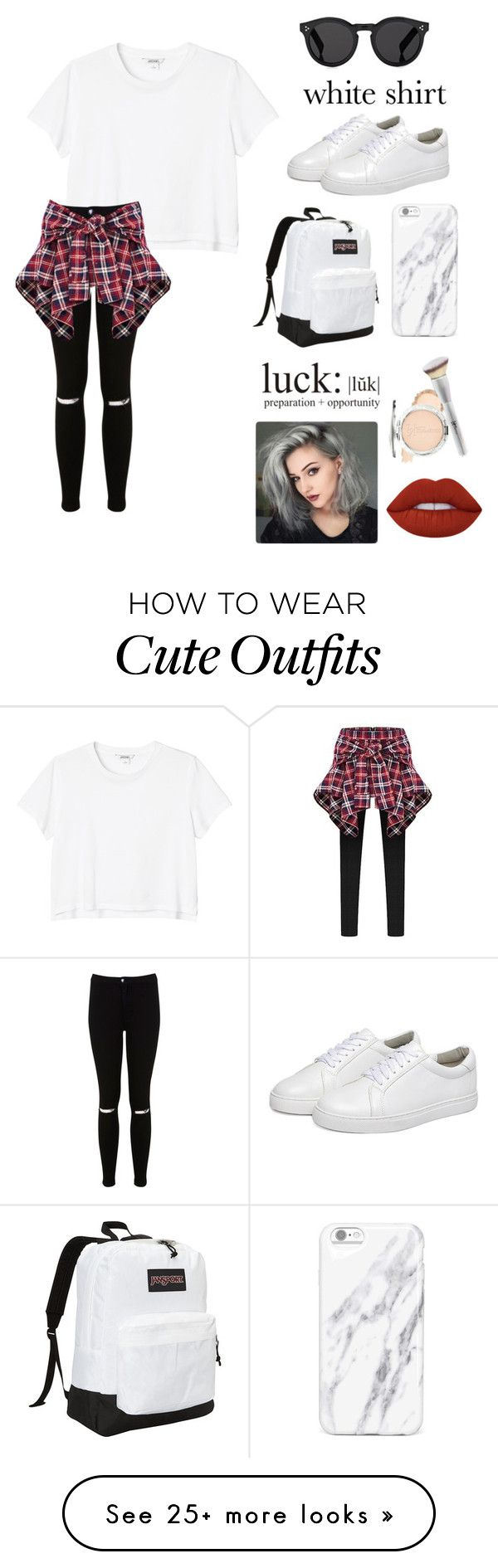 """""""Cute Outfit"""" by ellenmadeintheam on Polyvore featuring Monki, Miss Selfridge, It Cosmetics, JanSport, Illesteva, Lime Crime and WardrobeStaples"""