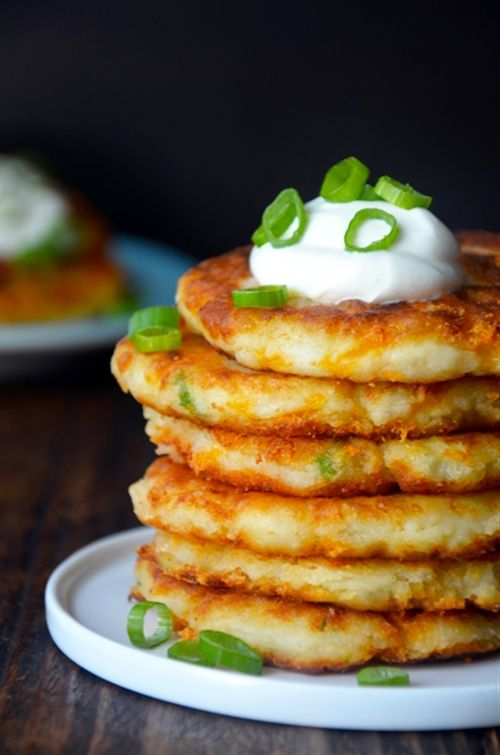 Ingredients: 3 cups chilled leftover mashed potatoes 2/3 cup shredded cheddar cheese 2 Tablespoons chopped scallions, green and white parts 1 egg, lightly beaten 3