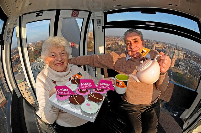 Joan and David Moat of Strensall, York take a high tea on the York Wheel. Joan has MS and David is her carer.