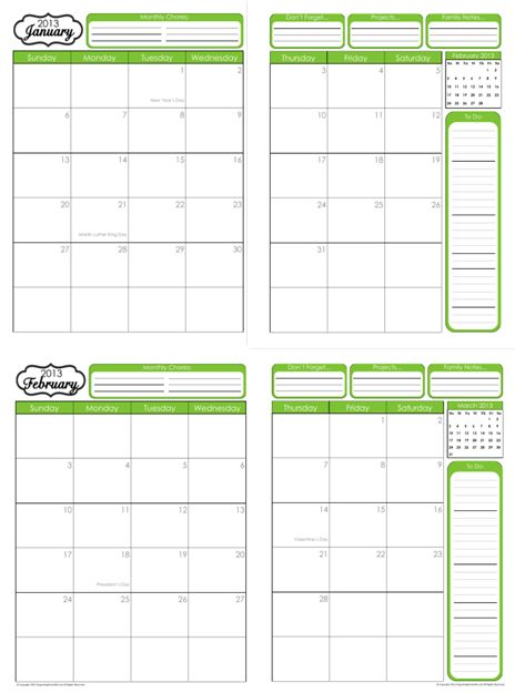 Free 2012 2013 printable calendar planner planning for 120 day calendar template