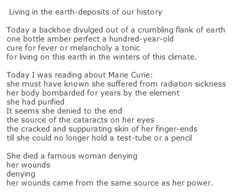 poems by adrienne rich Adrienne rich died march 27, six weeks shy of her 83rd birthday for me, rich  was the first great female poet it's not that i didn't worship emily.
