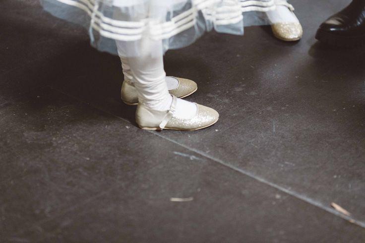 Flower girl gold glitter ballet shoes  for Melbourne Wedding #wedding #glitter #flowergirl #melbourne