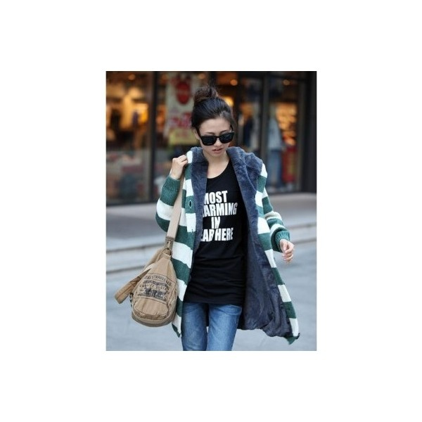 Buy Single Breasted Green With Beige Stripe Knitting Wool Blends Women... via Polyvore