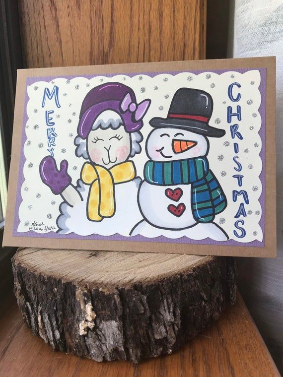 merry christmas card sheep card handmade card greeting