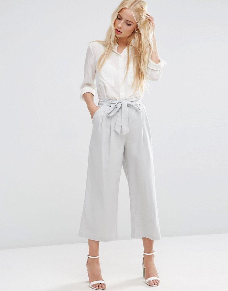 Image 1 - ASOS - Jupe-culotte en lin avec ceinture à nouer - 35,99 euros