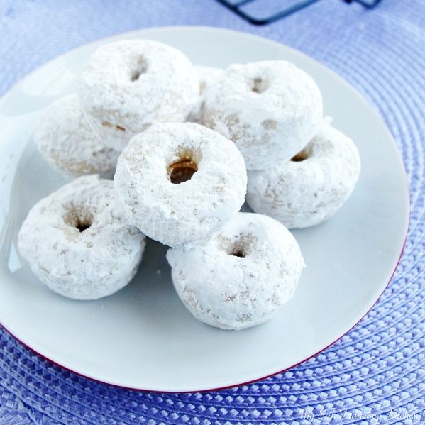 I cut this recipe in half and made 5 big donuts, but it was super quick and easy! Baked Mini Powdered Donuts | My San Francisco Kitchen