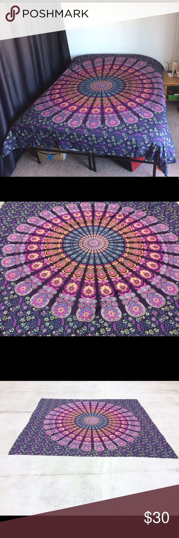 Bed spread bed sheet wall hanging tapestry mandala Wall hanging Bed Couch Cover   This beautiful couch cover/bed spread is hand screen printed on cotton fabric. Can be used a bedspread, Bed Sheets, couch spread, wall hanging or celling decoration. It will look great indoor or outdoor for little picnic or tipi for sleepover parties and music festivals.  Size: Queen bed   Material : 100% Cotton  Wash: Cold hand wash or Machine Delicates cycle & Air dry Other