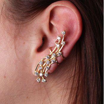 Brinco de Prata Contorno de Orelha (Ear Cuff) com Zircônias e Banho de Ouro - 27432