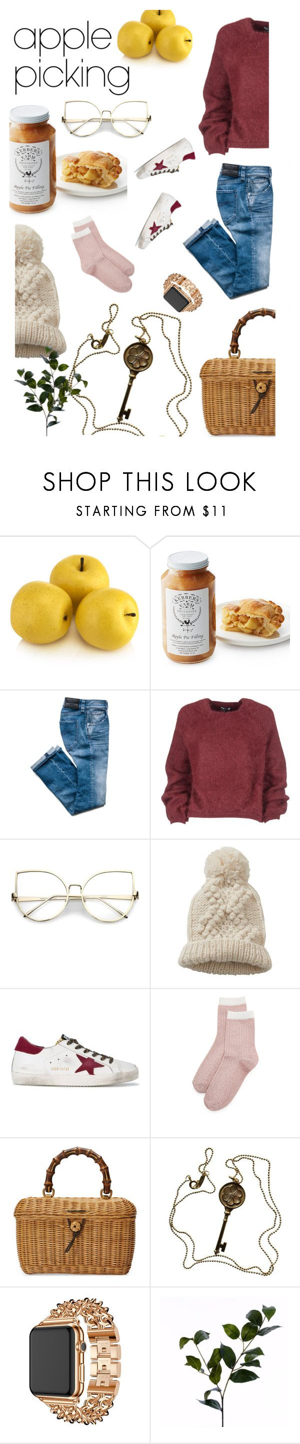 """""""Harvest Time: Apple Picking"""" by valeb ❤ liked on Polyvore featuring Tom Ford, Betty Barclay, Golden Goose, Liana Clothing, Gucci, Tiffany & Co., Apple and Wyld Home"""