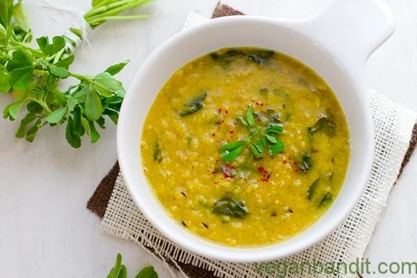 Indian Dal  Pumpkin Soup -This slightly hot cream soup is beautiful with its exotic aroma of coconut oil and spices.  Ingredients (for 4 servings):  1 cup Hokkaido pumpkin, chopped into cubes 1 onion 1 parsnip 1 tablespoon curry 2 teaspoons coconut oil ½ teaspoons turmeric 1 cup red lentils pinch of unrefined sea ...- http://www.veganbandit.net/indian-dal-soup/