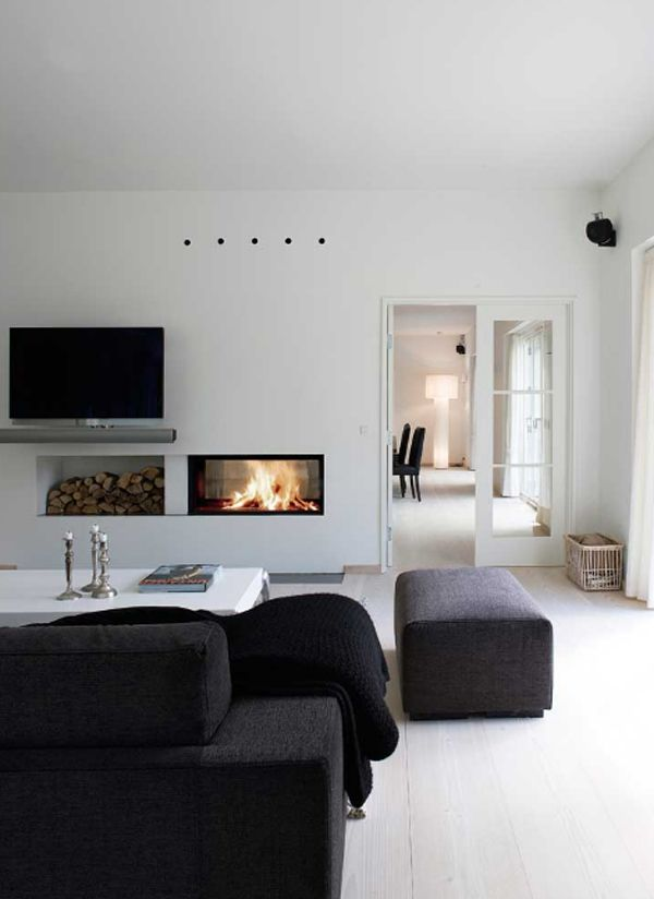 #contemporary #black and white #living room