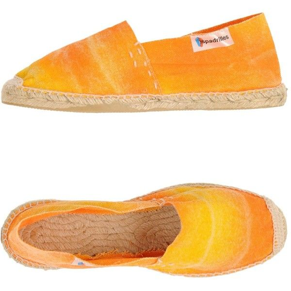 Espadrilles Espadrilles ($51) ❤ liked on Polyvore featuring shoes, sandals, orange, orange sandals, round cap, orange flat shoes, orange espadrilles and round toe shoes