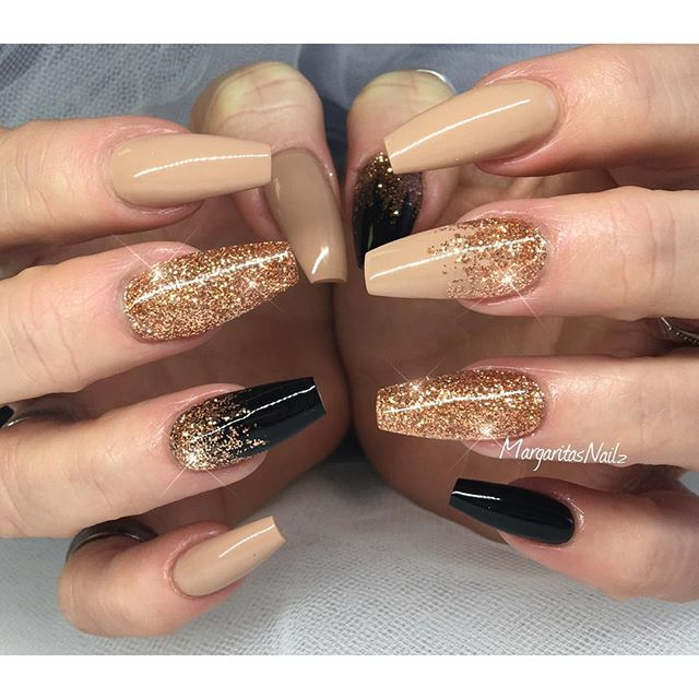 Best 25 copper nails ideas on pinterest chrome rose gold nails neutral black and gold glitter coffin nail art design prinsesfo Choice Image