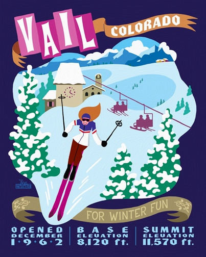 Vail, Colorado ~ Poster Art by Steve Lowtwait