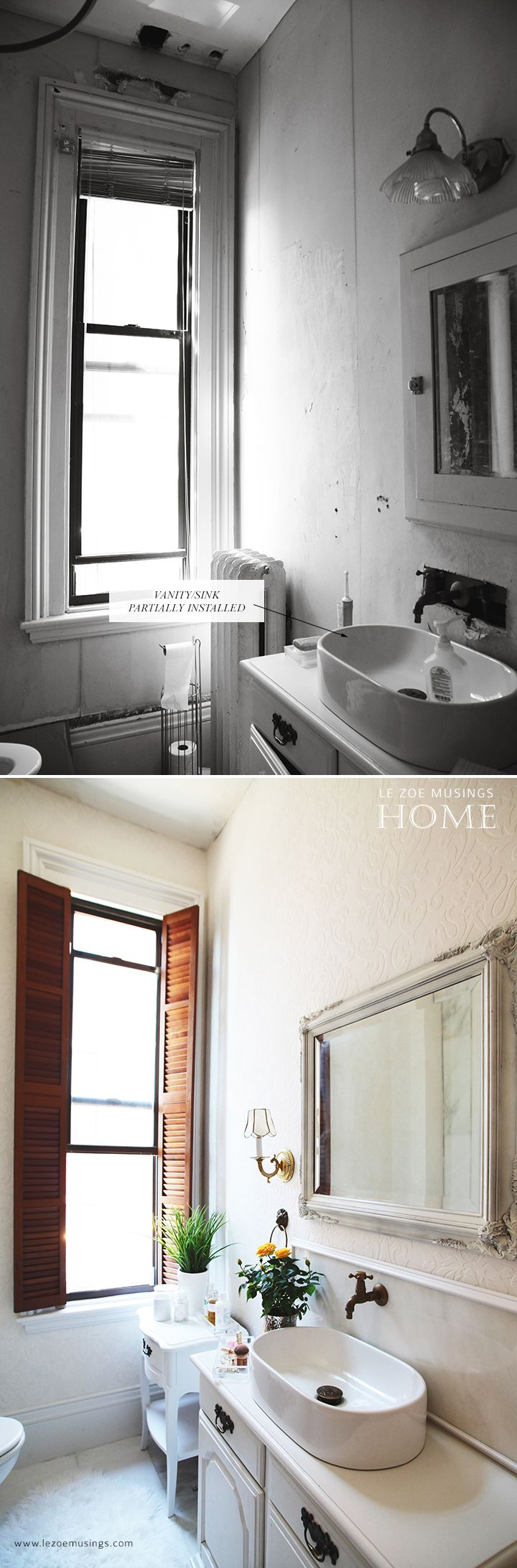 A picture of a bathroom - Diy Bathroom Vanity Makeover Using A Thrifted Hutch By Le Zoe Musings 2