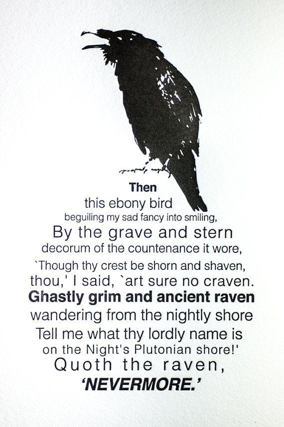 5x7 Letterpress Edger Allen Poe The Raven by FossilLetterpress, $25.00