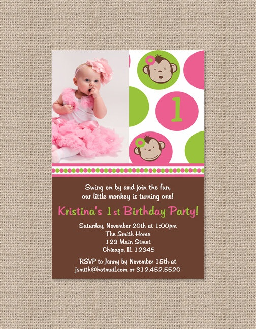 Pink Mod Monkey Birthday Party Invitations with by Honeyprint, $15.00