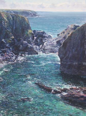 Artist Paul Lewin 'Summer Cliffs near Pothcothan'.  Mixed Media