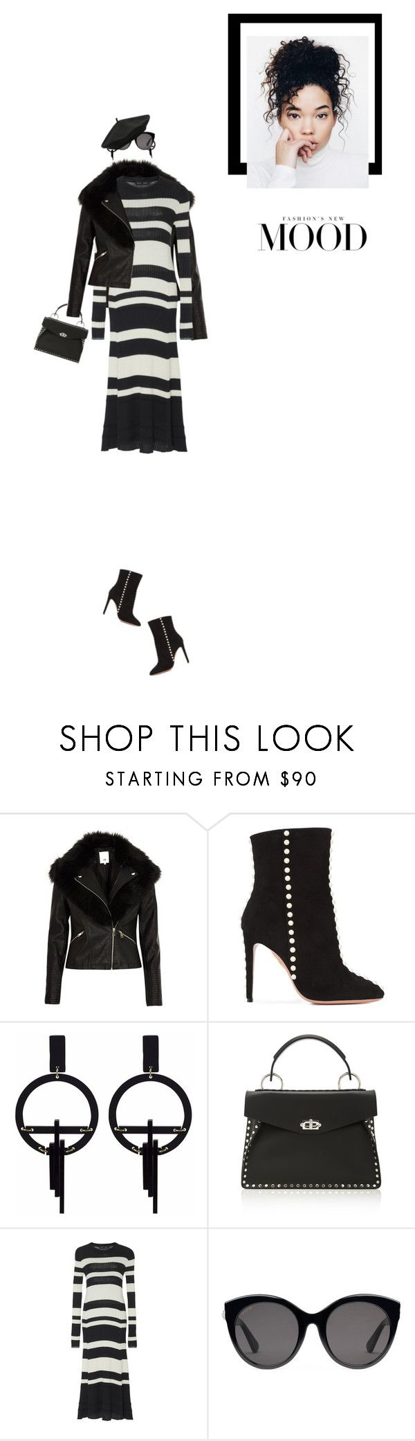 """""""Leather Jacket & Stylish Ankle Boots!"""" by prettynposh2 ❤ liked on Polyvore featuring River Island, Aquazzura, Toolally, Proenza Schouler, Gucci, M&Co, Leather and ankle"""