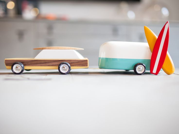 Old-School Cool: Charming Toy Cars Made of Nothin' But Wood | The jewel of Candylab's lineup is the Woodie, which you'll want to pair with the Camper. They cost $59 as a package with a couple of surfboards. | Credit: Candylab Toys | From Wired.com