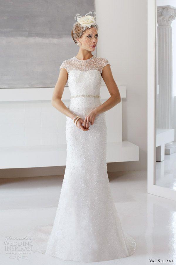 2014 Wedding Gowns Styles   ... stefani fall 2013 bridal cap sleeve sequin sheath wedding dress d8043