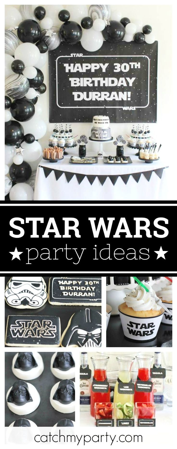 Check out this awesome 30th birthday Star Wars birthday party. The cupcakes topped with mini light sabers are so cool!! See more party ideas and share yours at CatchMyParty.com