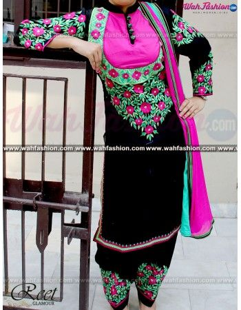 Attract everyone with your stunning look when you adorn this Designer Black Cotton Punjabi Suit. Embellished with heavy embroidery work & Lace work on Top & Dupatta. Available with matching bottom & dupatta. You can design this suit in any color combination or on any fabric for that whatsapp us. For more details whatsapp us on +919915178418