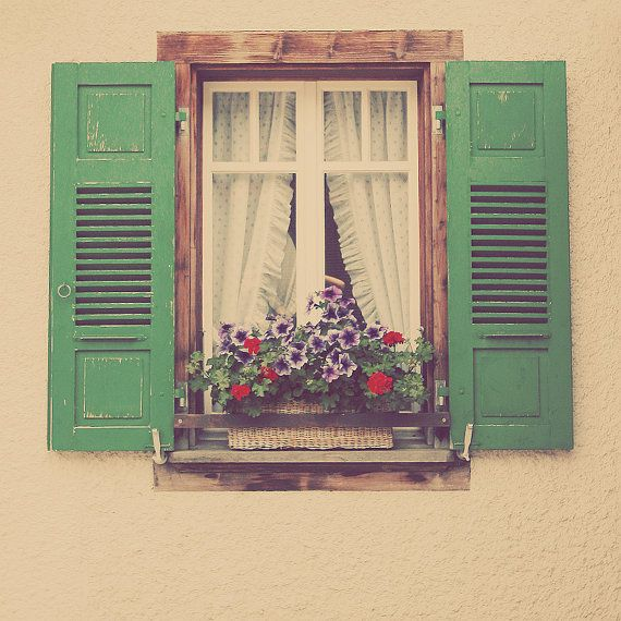 Green Window Shutters Photo Art Print Purple Flowers Switzerland Europe - 5 x 5