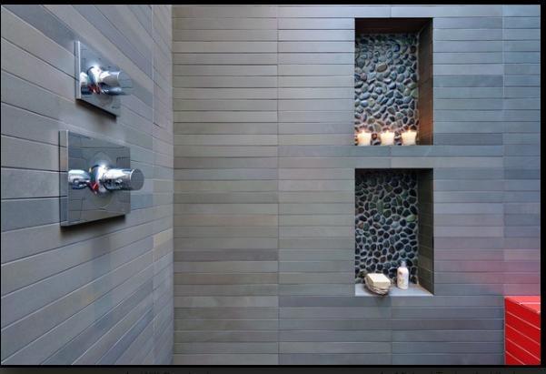 beautiful bathroom tile - wall and niche