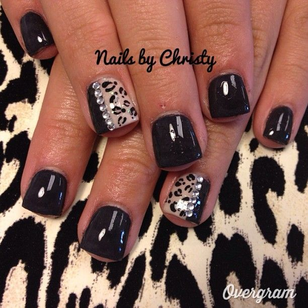 Fierce Cheetah Nails. love this especially since theyre so short!!!