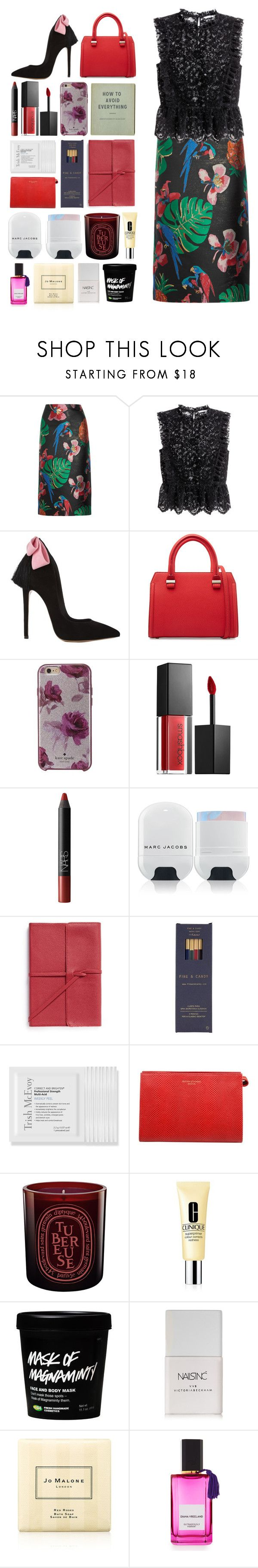 """5492"" by katrina-yeow ❤ liked on Polyvore featuring Valentino, H&M, Victoria Beckham, Kate Spade, Smashbox, NARS Cosmetics, Marc Jacobs, Bynd Artisan, Fine & Candy and Trish McEvoy"