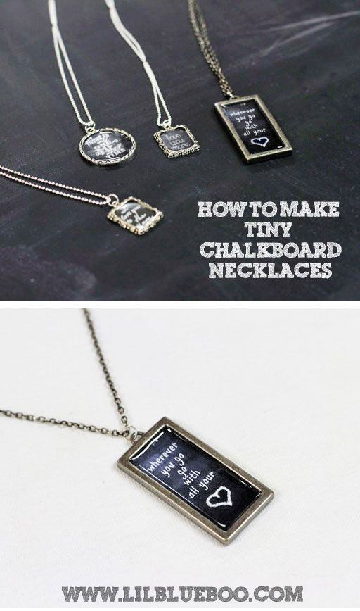 How to Make Chalkboard #Necklaces (with Chalkboard Download) via lilblueboo.com