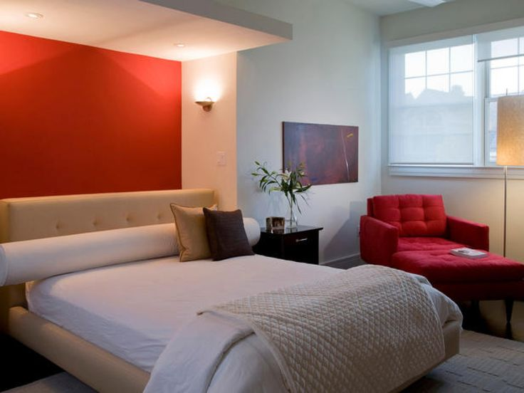 modern master bedroom decorating ideas with red sofa