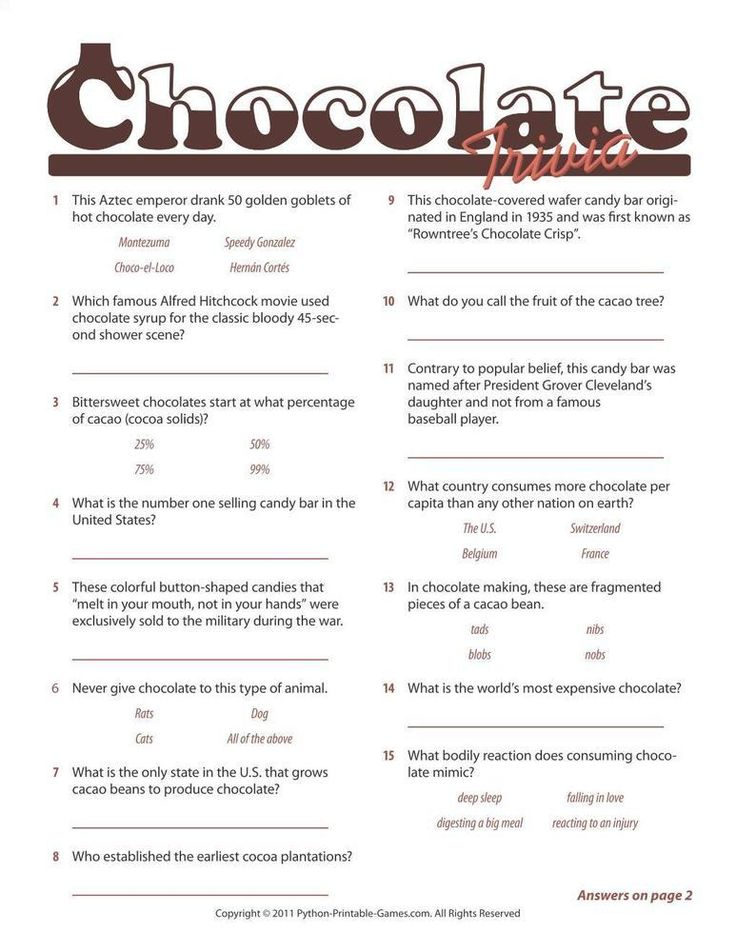 trivia printable chocolate games cooking food fun game quiz answers questions drink activities candy party baby foods shower drinks activity